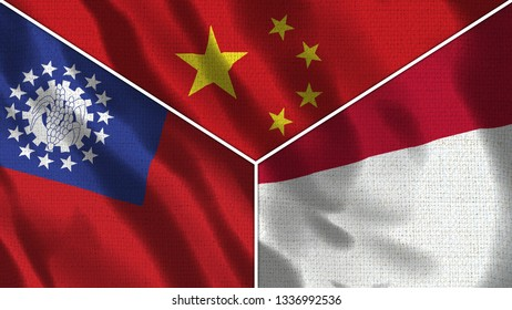 China and Indonesia and Taiwan Realistic Three Flags Together - 3D illustration Fabric Texture