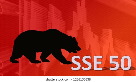 China - JAN. 2019: The China stock market index SSE 50 of Shanghai Stock Exchange is falling. Behind the word SSE 50 is a black bear silhouette looking down on a red descending chart.