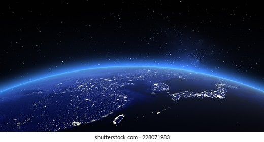 China and Japan. Elements of this image furnished by NASA
