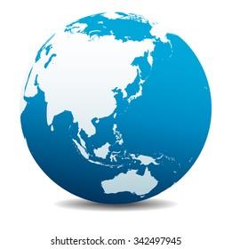 China, Japan, Malaysia, Thailand, Indonesia, Global World - Raster Version