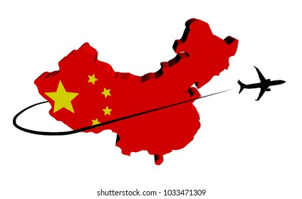 China map flag with plane silhouette and swoosh 3d illustration