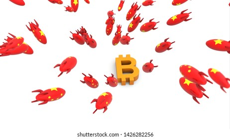 china missle to bitcoin 3d illustration background
