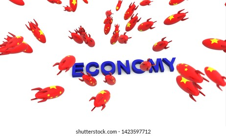 china missles to economy 3d illustration background