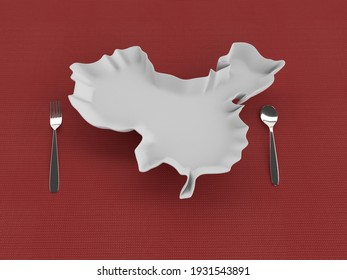China mould view in brown background,3D Render
