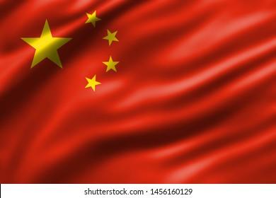 China national flag waving 3d rendering design