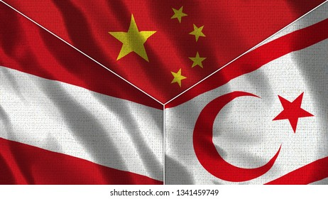 China and North Cyprus and Austria Realistic Three Flags Together - 3D illustration Fabric Texture