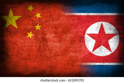 China and North Korea flag, with grunge metal texture