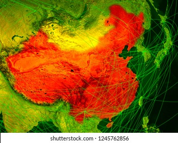 China on digital map with networks. Concept of international travel, communication and technology. 3D illustration. Elements of this image furnished by NASA.