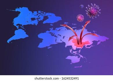 China pathogen respiratory coronavirus 2019-ncov flu spreading map. 3D view of world, China map, arrows, floating influenza virus cells. Dangerous chinese ncov corona virus, SARS pandemic risk alert
