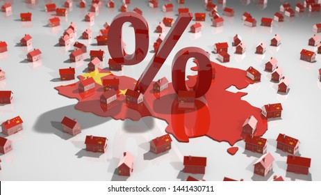 China rising house prices on real estate property market with population growth - 3D illustration render
