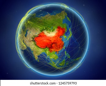 China from space on planet Earth with digital network representing international communication, technology and travel. 3D illustration. Elements of this image furnished by NASA.