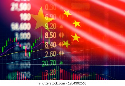 China stock market / Shanghai stock exchange analysis forex indicator trading graph chart business growth finance money crisis economy and Trade war with China flag