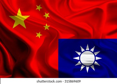 China and Taiwan Flags joining together concept