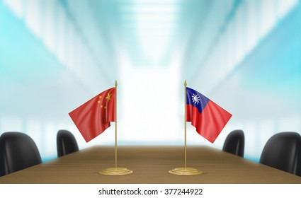 China and Taiwan relations and trade deal talks 3D rendering