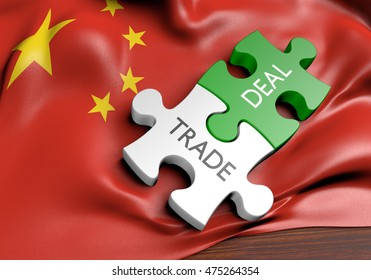 China trade deals and international commerce concept, 3D rendering