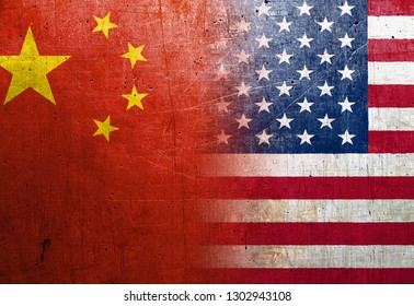 China and United States flags on the grunge metal background