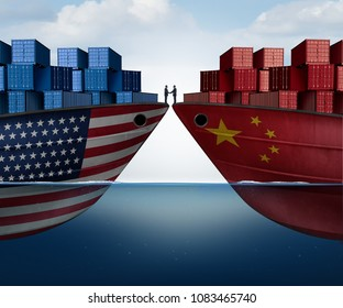 China United States trade agreement and American tariffs as two opposing cargo ships as an economic taxation dispute resolution over import and exports as a 3D illustration.