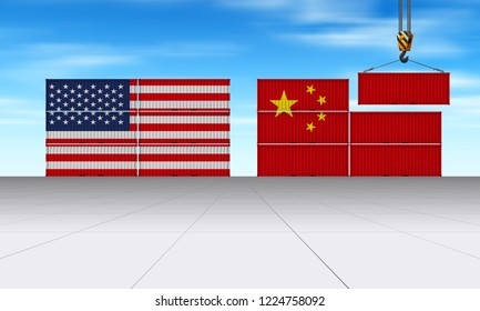 China United States trade agreement as 3D illustration