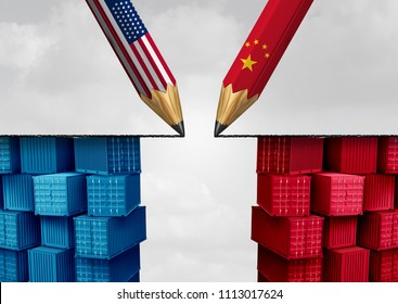 China United States trade solution and American tariffs as two opposing pencils as an economic  taxation dispute agreement over import and exports concept as a 3D illustration.