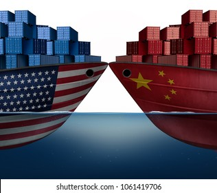 China United States trade war and American tariffs or Chinese tariff as two cargo ships as an economic  taxation dispute over import and exports concept as a 3D illustration.
