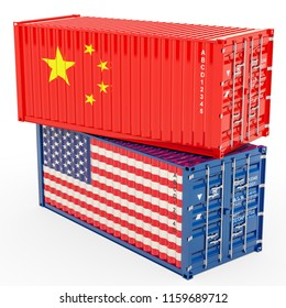 China and United States trade war concept, 3d rendering isolated on white background