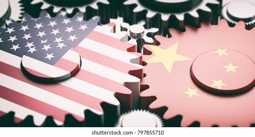 China and US trade war concept. China and US of America flags on metal gears. 3d illustration