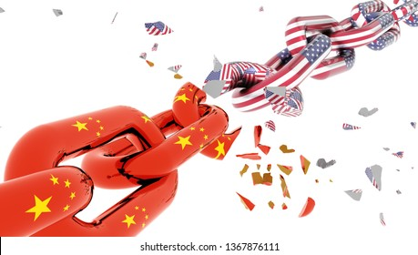 china usa america crisis and flag chain break suttered in many  peaces - 3d rendering