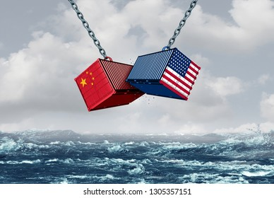 China USA fight as a trade war and tariff dispute as a 3D illustration.