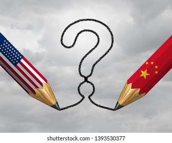 China USA questions and economic trade uncertainty or financial treaty and industry partnership challenges between Chinese and American government drawing a question mark as a 3D illustration.