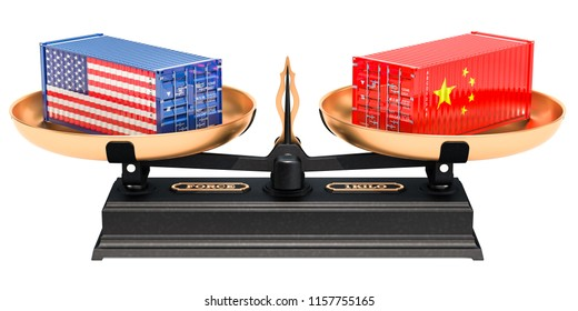 China and USA trade balance concept, 3D rendering isolated on white background