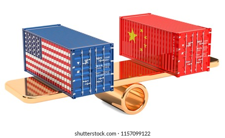 China or USA trade and tariffs balance concept, 3D rendering isolated on white background