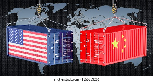 China USA trade and tariffs war, concept. 3d rendering