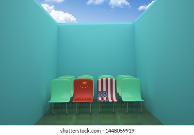 China USA trade war 3d render Flag on Chair concept, 3D illustration,