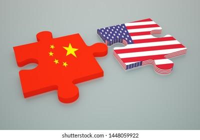 China USA trade war 3d render Puzzle Pieces concept, 3D illustration,