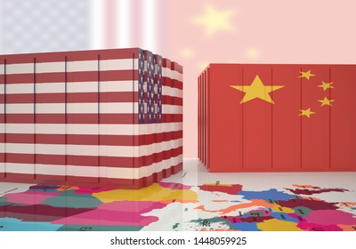 China USA trade war 3d render Shipping Containers concept, 3D illustration