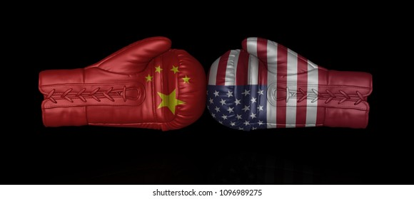 china usa us tax war trade crisis import entrance duty problems conflict armament nuclear arms weapons build-up upgrade confrontation relationship 3d boxing gloves flags isolated illustration on black