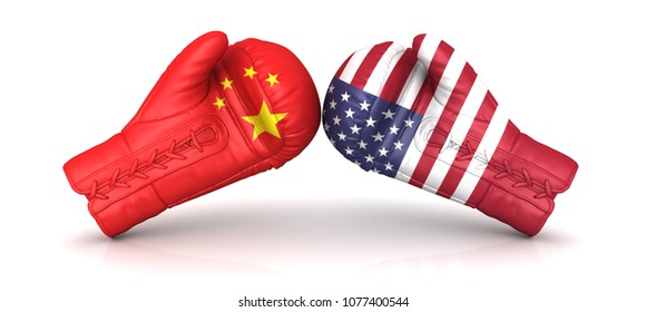 china usa us trade war 3d rendering nuclear arms armament economic currency warfare duty entrance import tax crisis military confrontation political conflict increasing tariff levy  problems