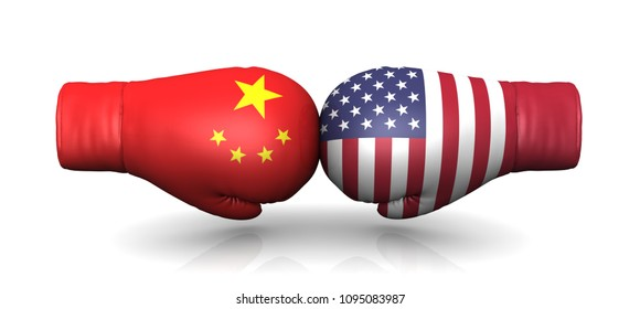 china usa us trade war 3d rendering import entrance restrictions crisis duty tariff tax warfare economic military political conflict arms upgrade armament nuclear buildup boxing gloves flags on white