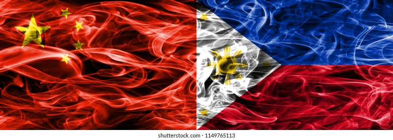 China vs Philipines smoke flags placed side by side