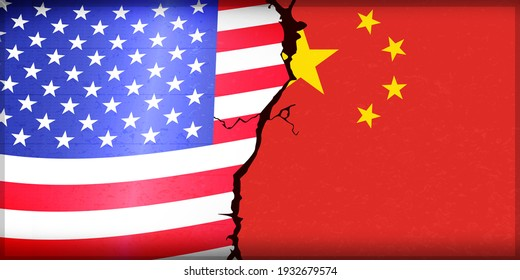 China Vs United States Conflict Style Abstract backdrop design concept. Modern cracked wall flags design