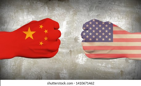 China vs USA. Men fists. 3D rendering