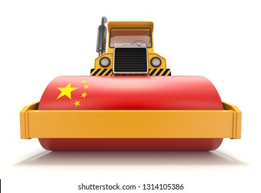 China's economic power concept with steamroller and flag of China - 3D illustration (3S rendering)