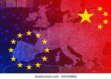 China's relationship with Europe - The Chinese flag and the European flag overlap on the translucent map of Europe
