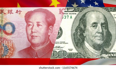 Chinese 100 yuan versus 100 US one hundred dollars bill, RMB vs USD. Global economics concept : chinese and american currency together, 3D rendering