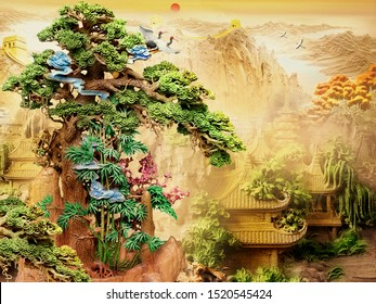 Chinese 3D Wallpaper with beige background . tree and old Chinese house . birds and tree Great Wall of China . flowers and deer