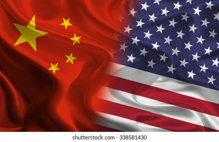 Chinese and American flags joining together concept
