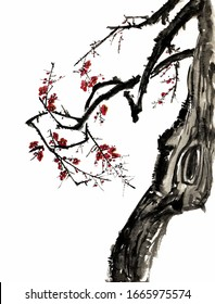 Chinese ancient hand-painted black and white ink plum tree part Symbolic meaning: Perseverance
