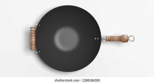 Chinese Asian cuisine. Empty wok with wooden handles isolated on white background, top view. 3d illustration
