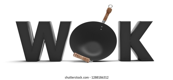 Chinese Asian cuisine. Text wok and empty flying wok with wooden handles on white background. 3d illustration