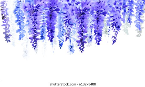 Chinese brush and ink Handmade watercolor wisteria  flowers
